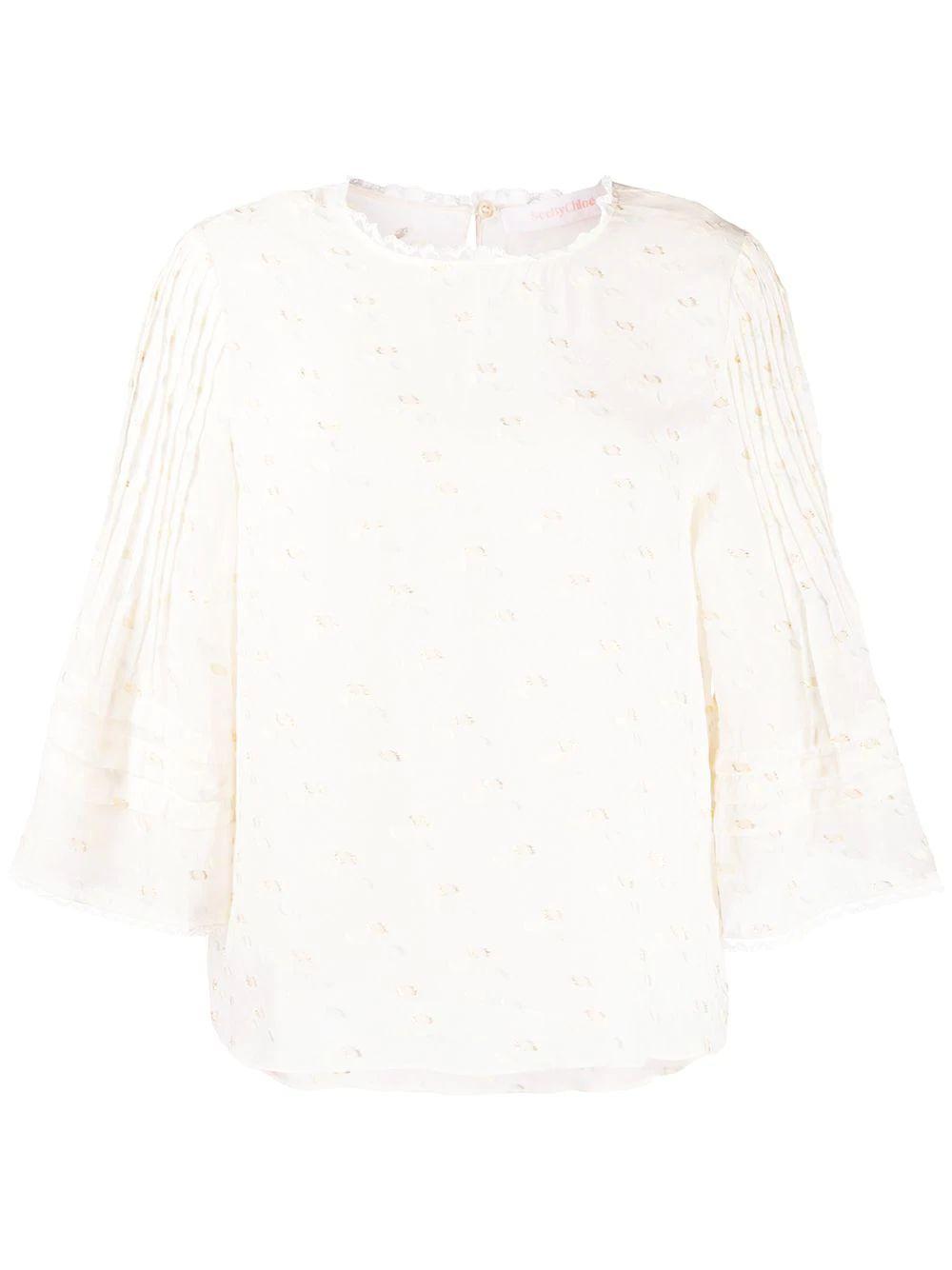 3/4 Sleeve Sparkling Fluid Jacquard Blouse