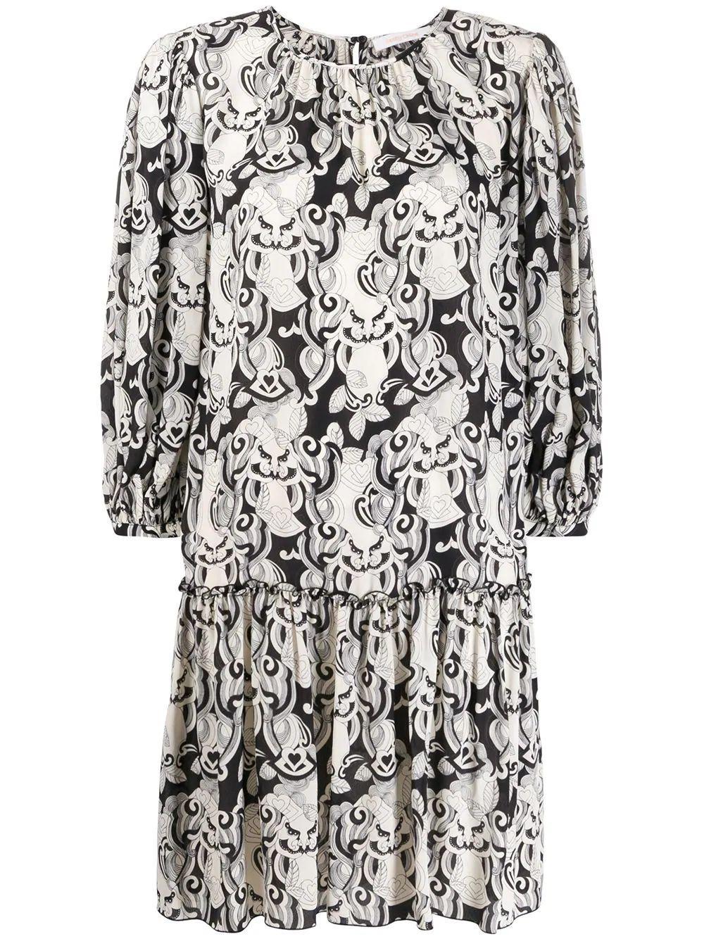 3/4 Sleeve Her On Silk Mix Dress Item # CHS20SRO33038