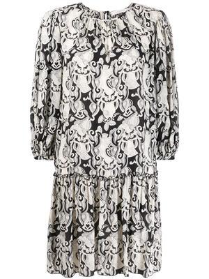 3/4 Sleeve Her On Silk Mix Dress