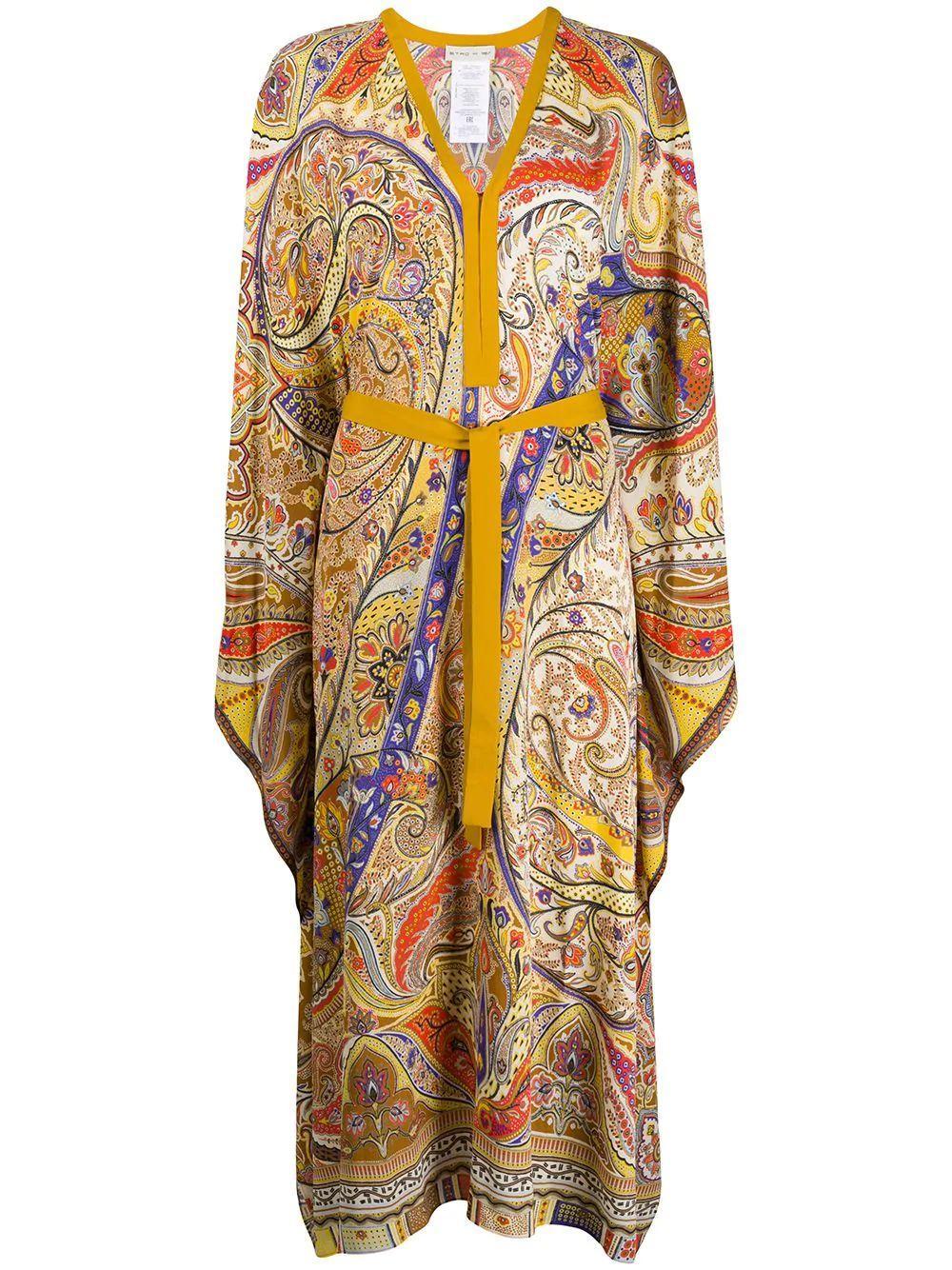 Gelsomino Long Sleeve Printed V-Neck Long Caftan