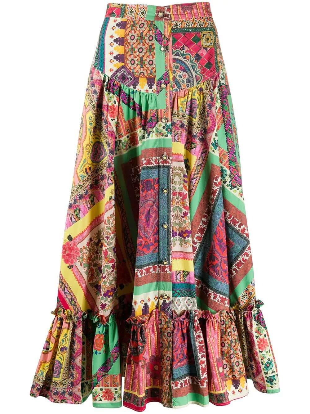 Cotton Patchwork Maxi Skirt