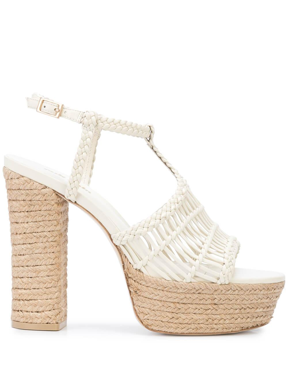Thea Platform Woven Sandal With Ankle Strap