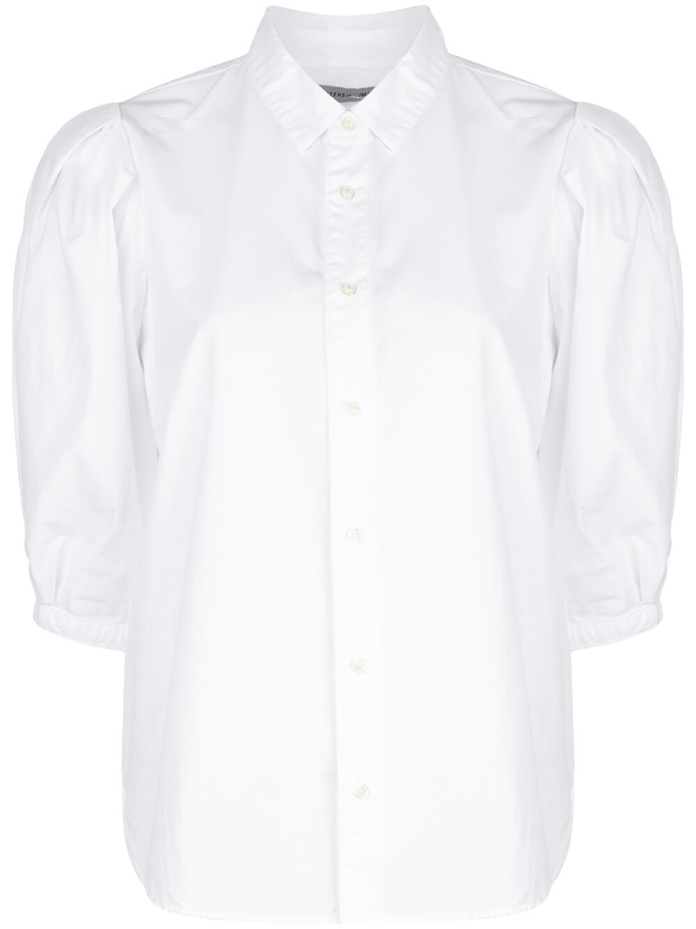 Ines Pleated Puff Sleeve Buttonup Shirt Item # 9150-741