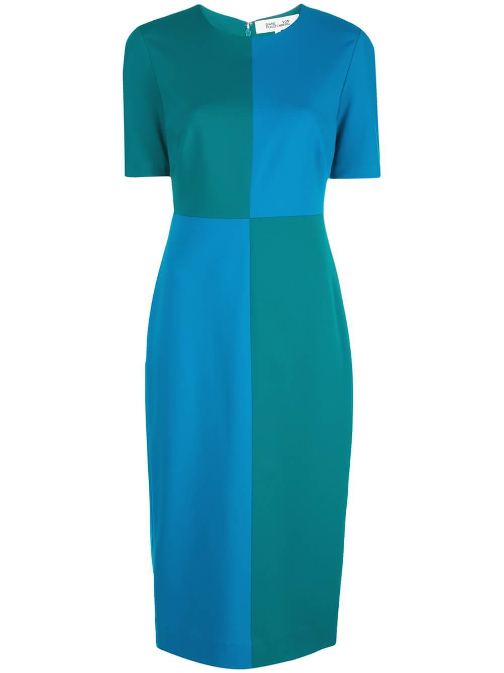 Davis Short Sleeve Colorblock Midi Dress Item # 13724DVF