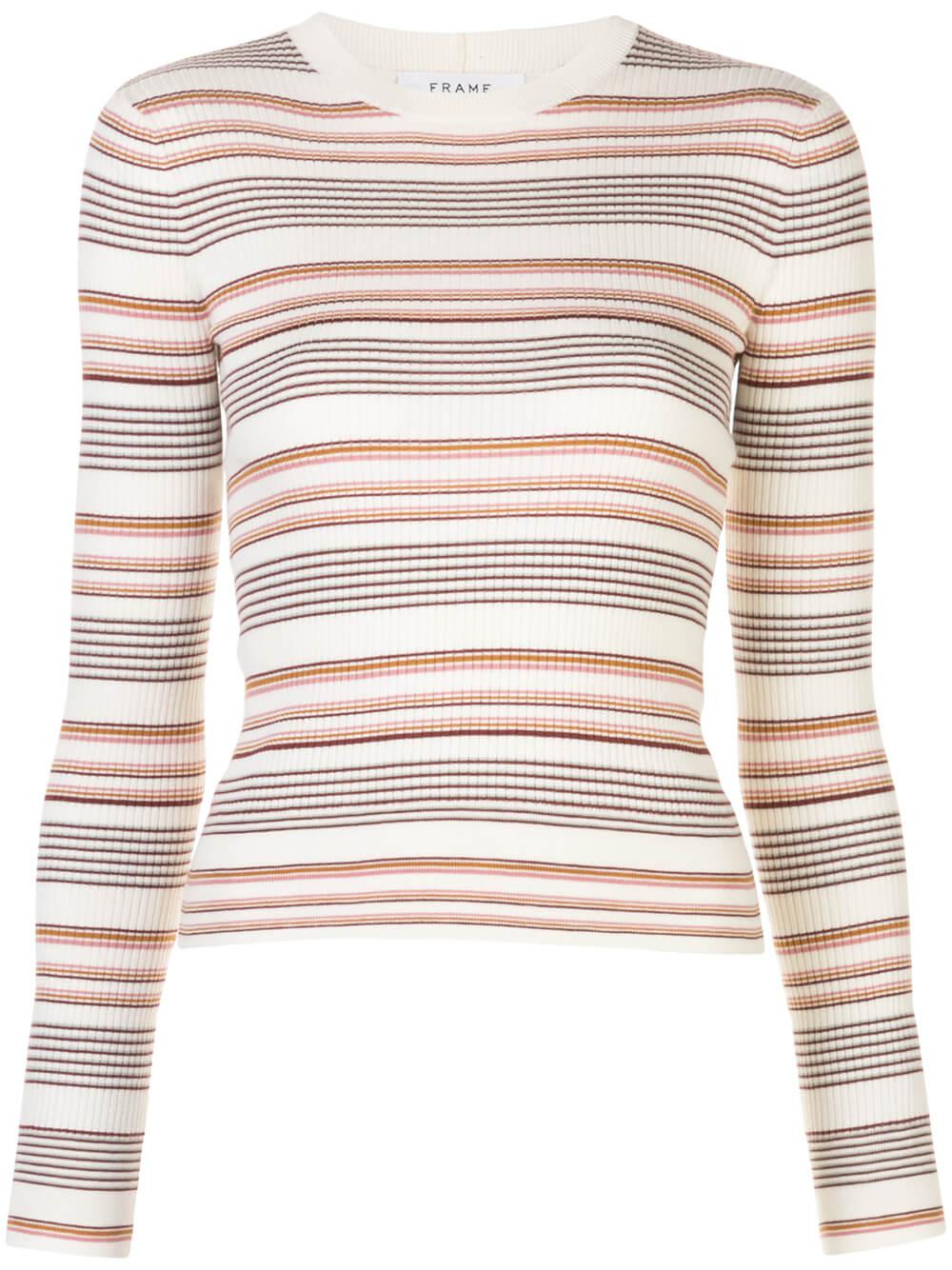 Easy Rib Stripe Sweater Item # LWSW0681