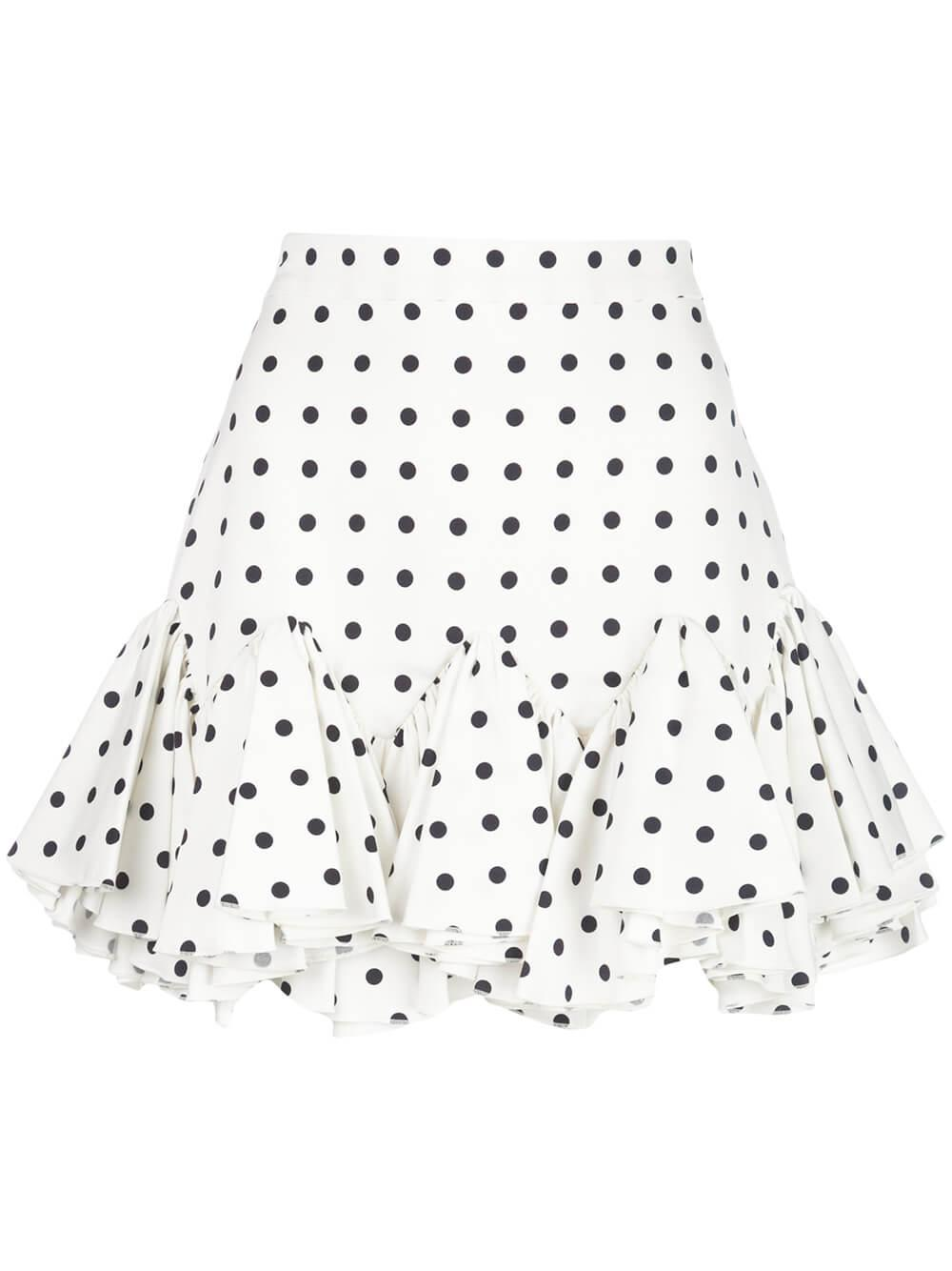 Polka Dot Skirt With Ruffled Hem