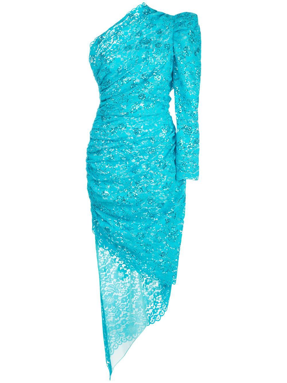 One Shoulder Lace Dress With Slash Skirt Item # 042LD-61