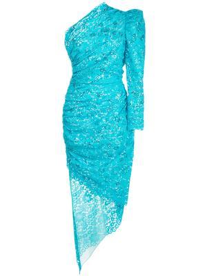 One Shoulder Lace Dress With Slash Skirt