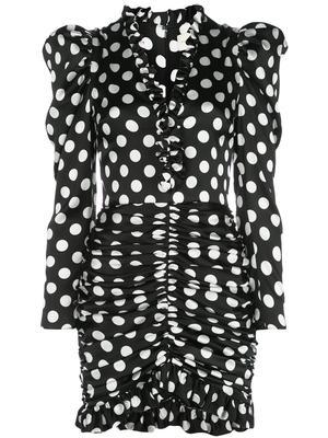 3/4 Sleeve V Neck Polka Dot Dress With Ruched