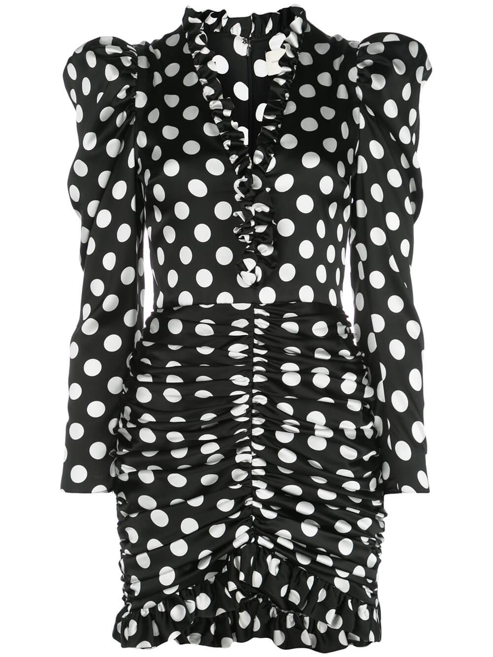 3/4 Sleeve V Neck Polka Dot Dress With Ruched