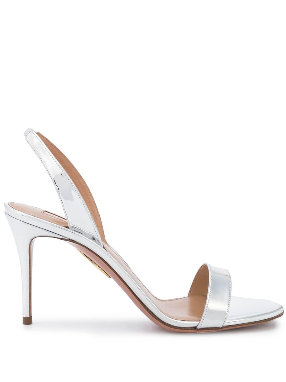 So Nude 85MM Sling Back Leather Sandal