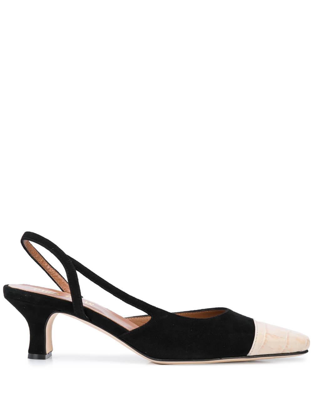 Suede Slingback Kitten Heel With Croc Cap Item # PX201-XSACAG