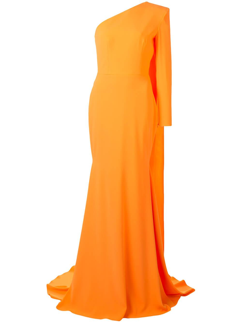 Hales Satin Crepe One Sleeve Gown Item # D611