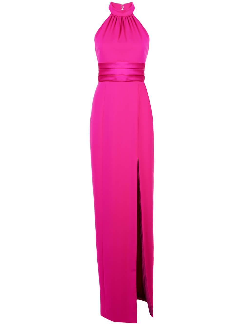 Open Back Cummerbund Belted Gown Item # 119601