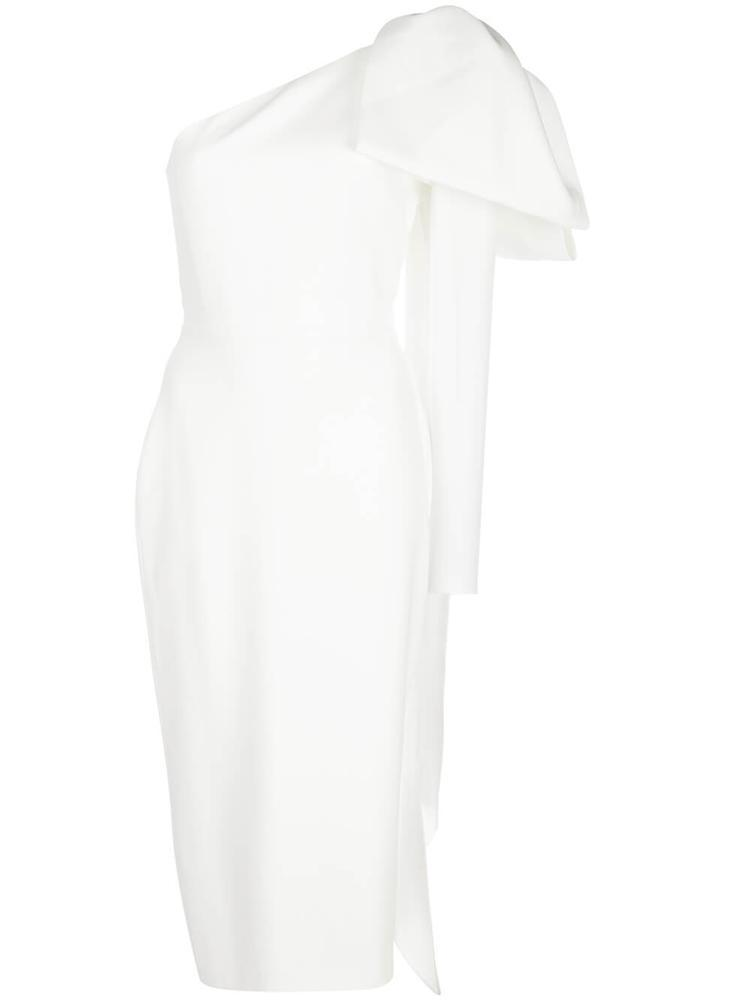 Wade Satin Crepe Bow One Sleeve Midi Item # D603