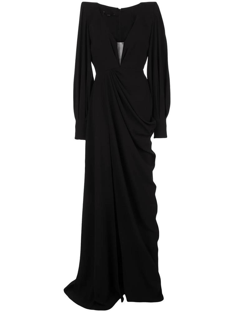 Clark Pleated Balloon Sleeve Gown Item # D606