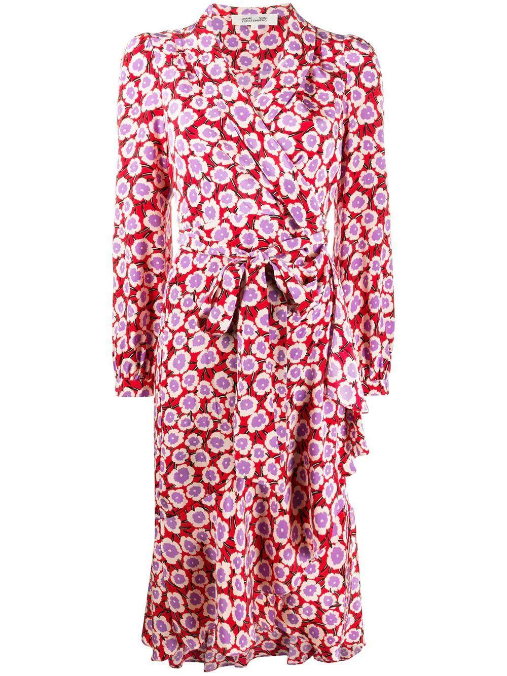 Carla Long Sleeve Floral Wrap Dress