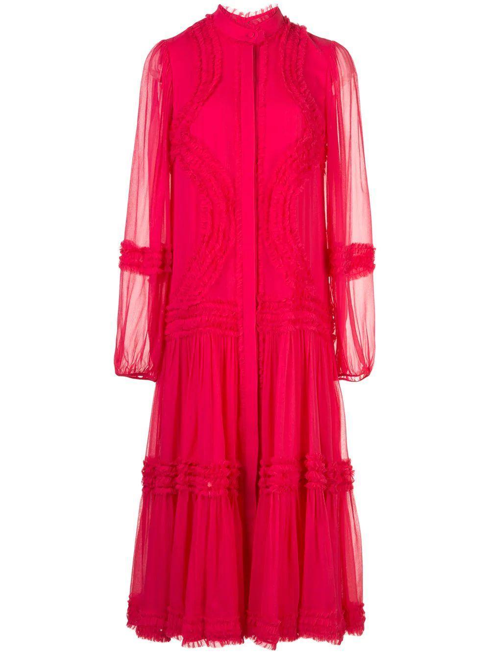 Patrizia Long Sleeve Ruffle Midi Dress Item # A4190427-5815