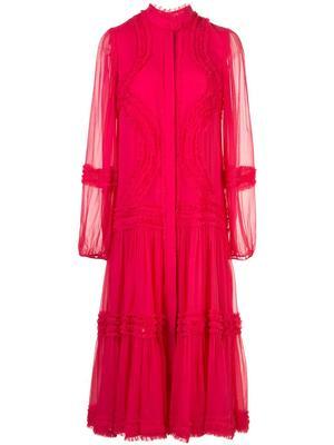 Patrizia Long Sleeve Ruffle Midi Dress