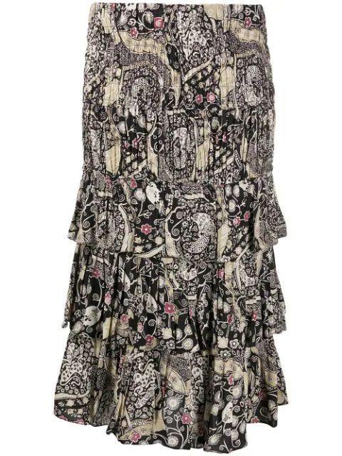 Printed Tiered Midi Skirt Item # CENCIA