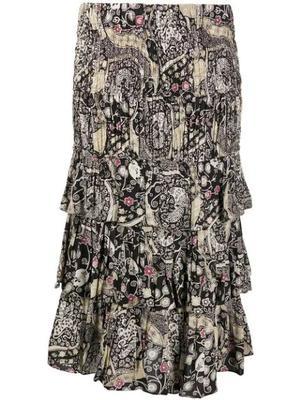 Printed Tiered Midi Skirt