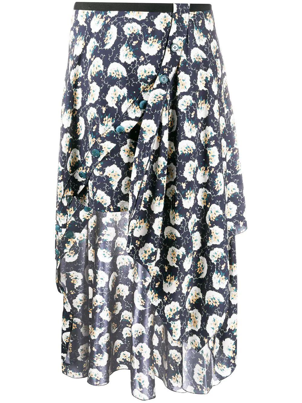 Bouquet Print Wrap Long Skirt