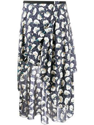Bouquet Print Wrap Long Skirt