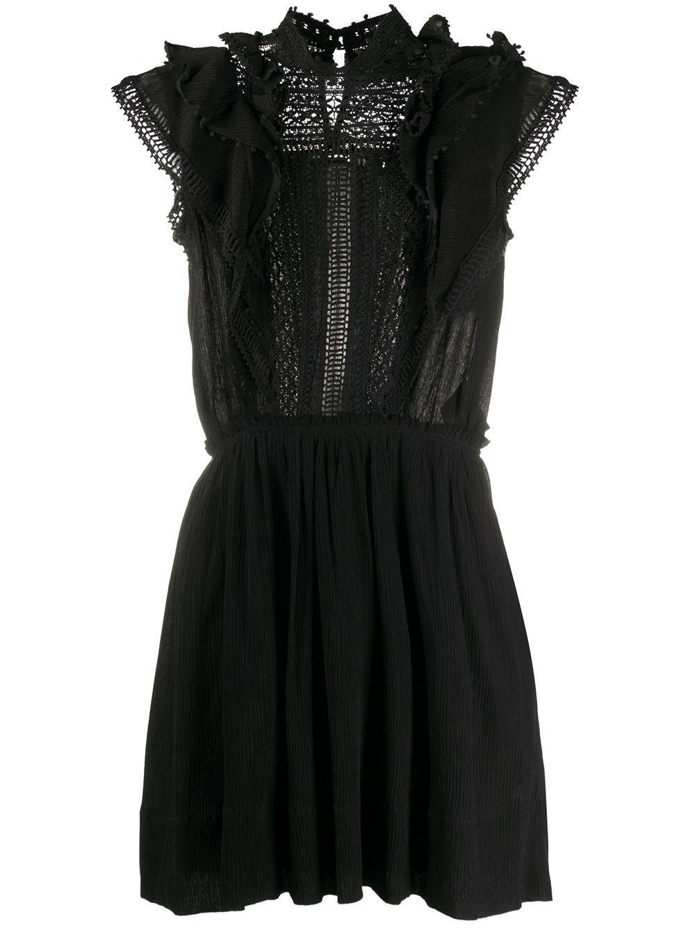 Ruffle Shoulder Solid Fit Flare Dress Item # IANELIA