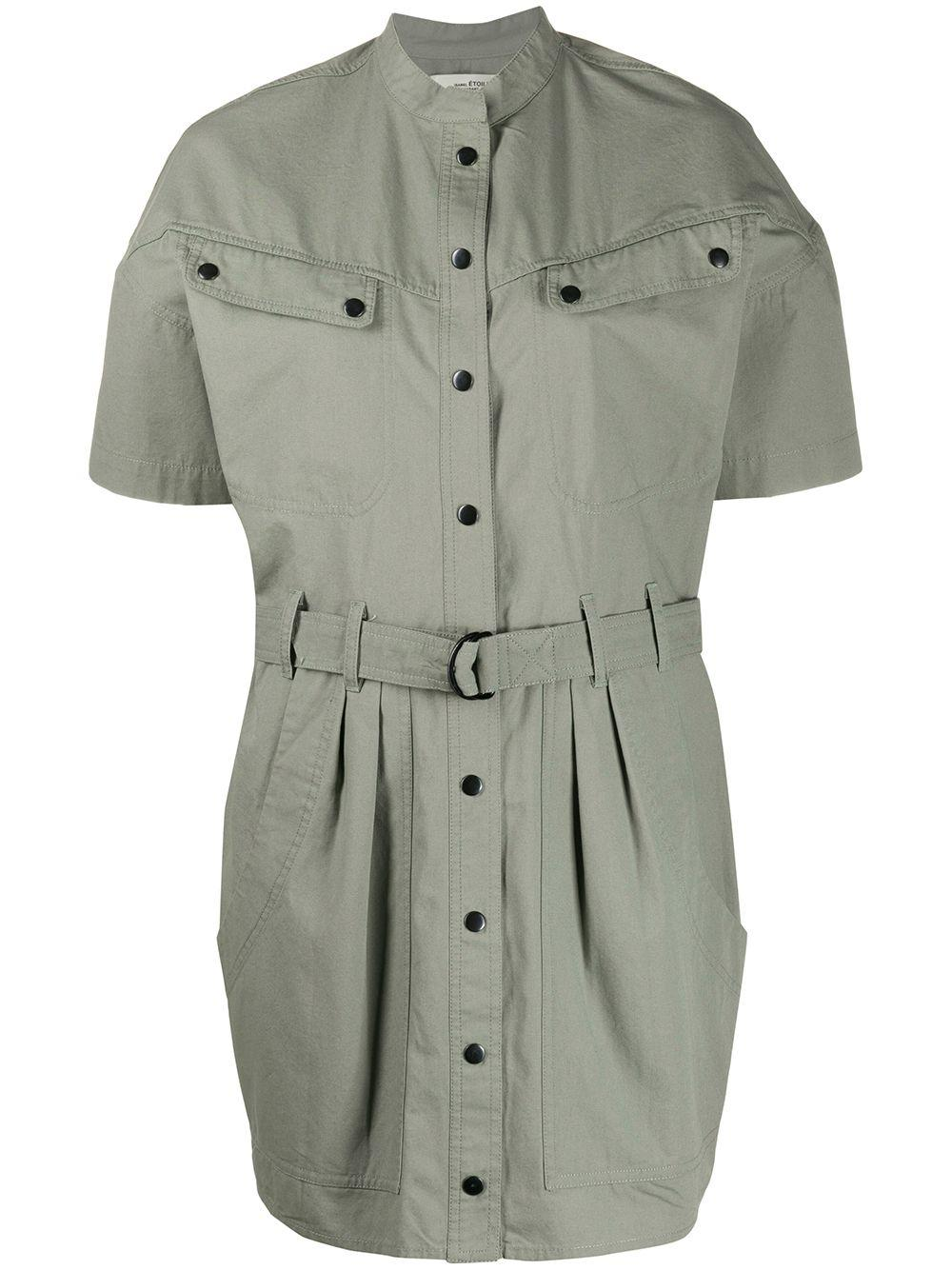 Short Sleeve Shirt Dress With Belt