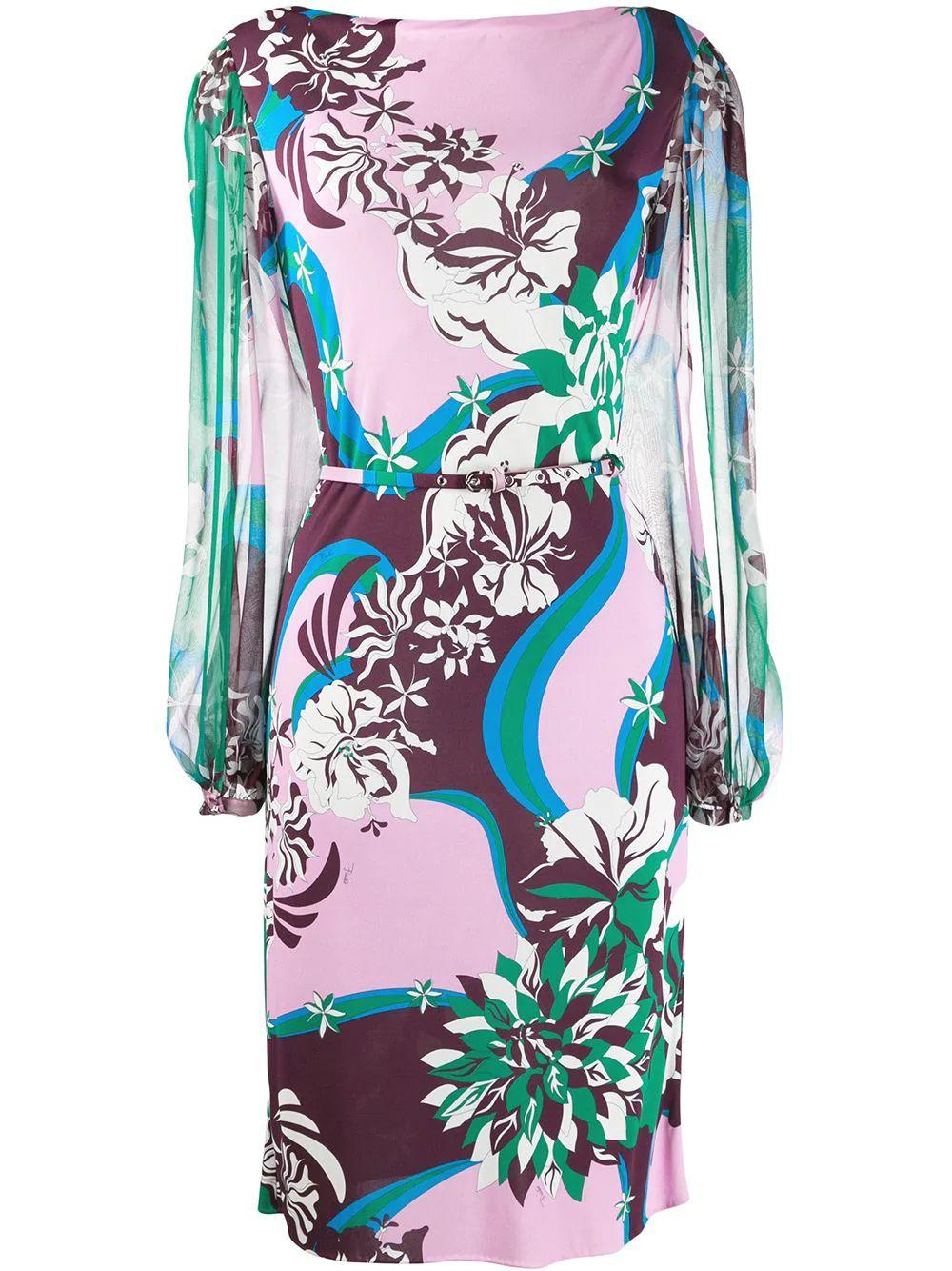 Long Sleeve Printed Dress With Chiffon Sleeve