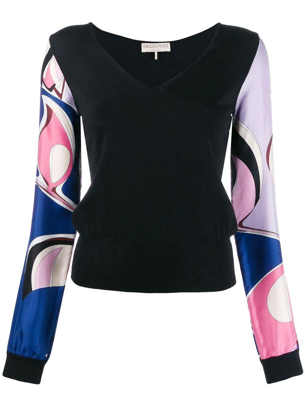 Long Sleeve V- Neck Top With Printed Sleeve Item # 0EKM15-0E978