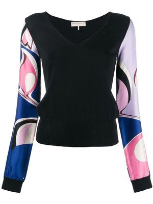 Long Sleeve V-Neck Top With Printed Sleeve