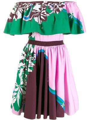 Off The Shoulder Printed Cotton Poplin Dress