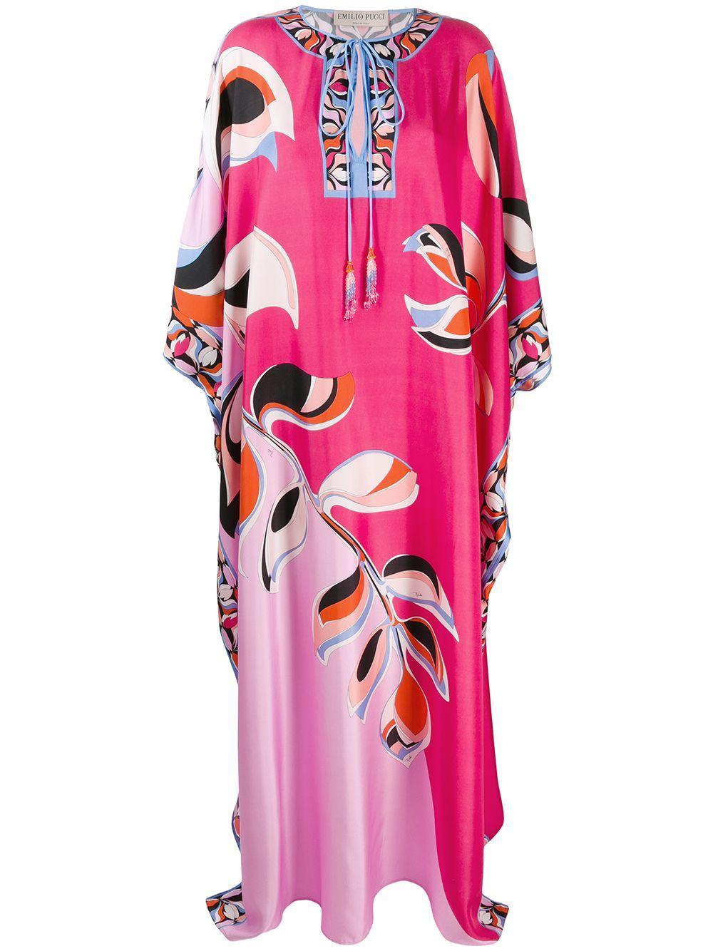 3/4 Sleeve Printed Silk Twill Caftan