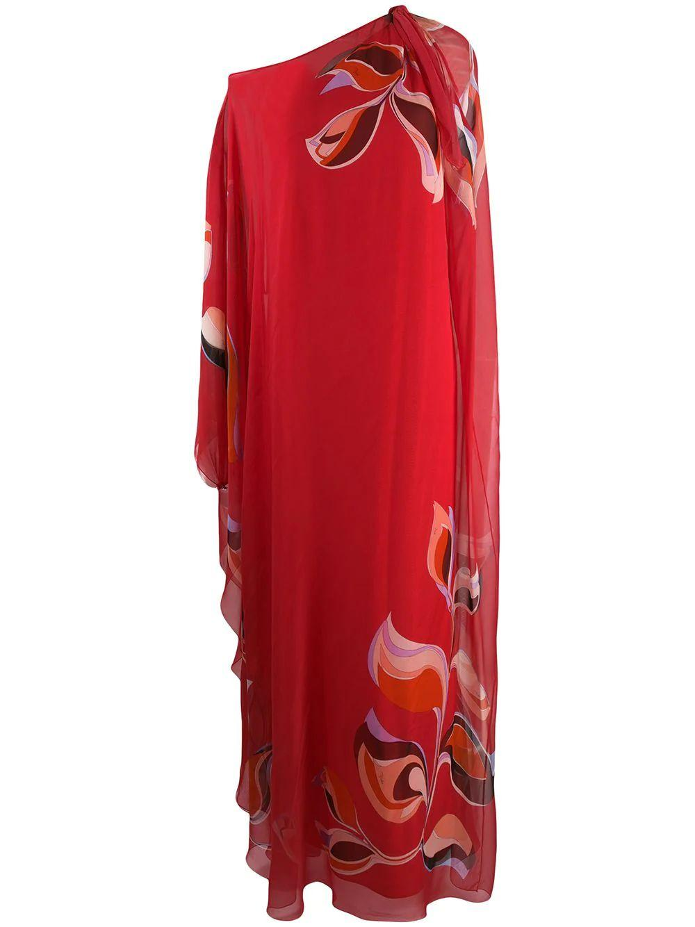 One Shoulder Printed Caftan