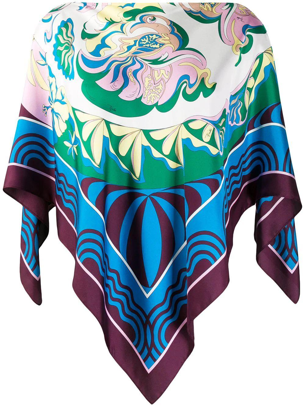 Silk Twill Printed Poncho With Camisole