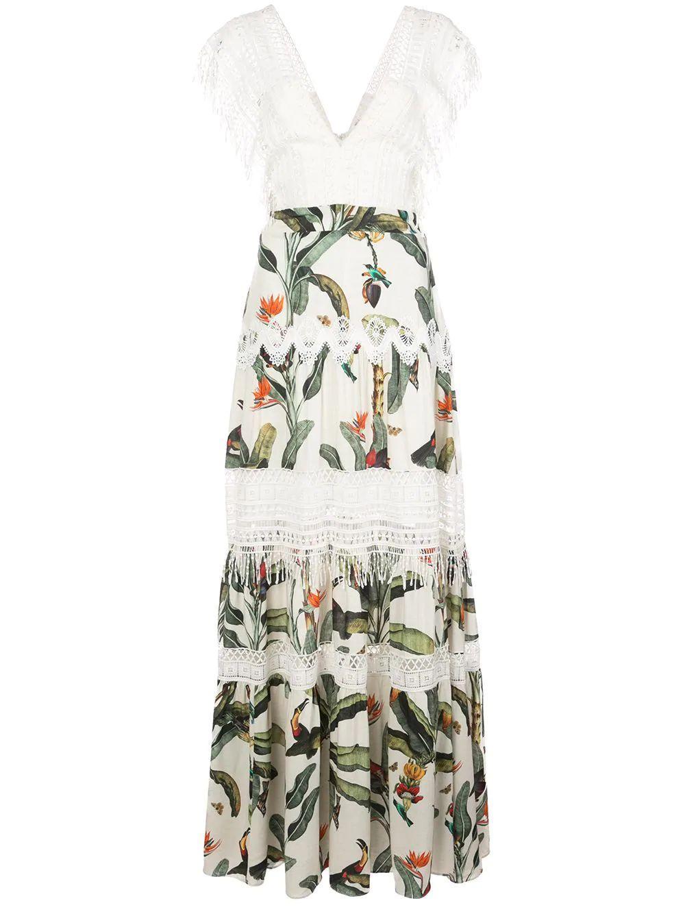 Tropical Print Lace Trim Dress