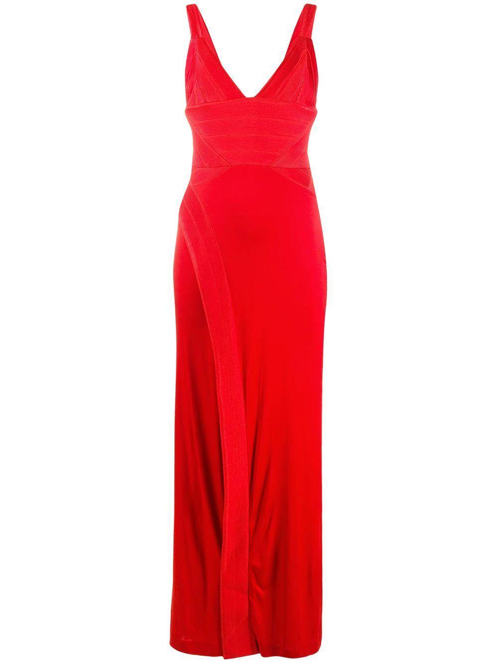 Langen V Neck High Slit Dress Item # 1880