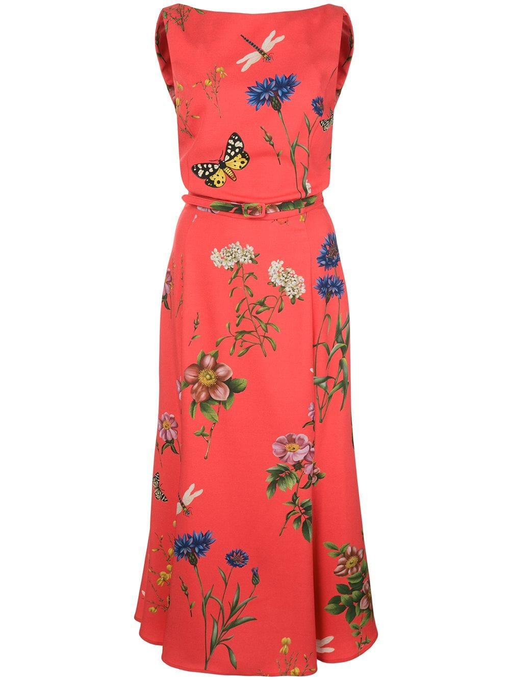 Sleeveless Floral Print Midi Day Dress