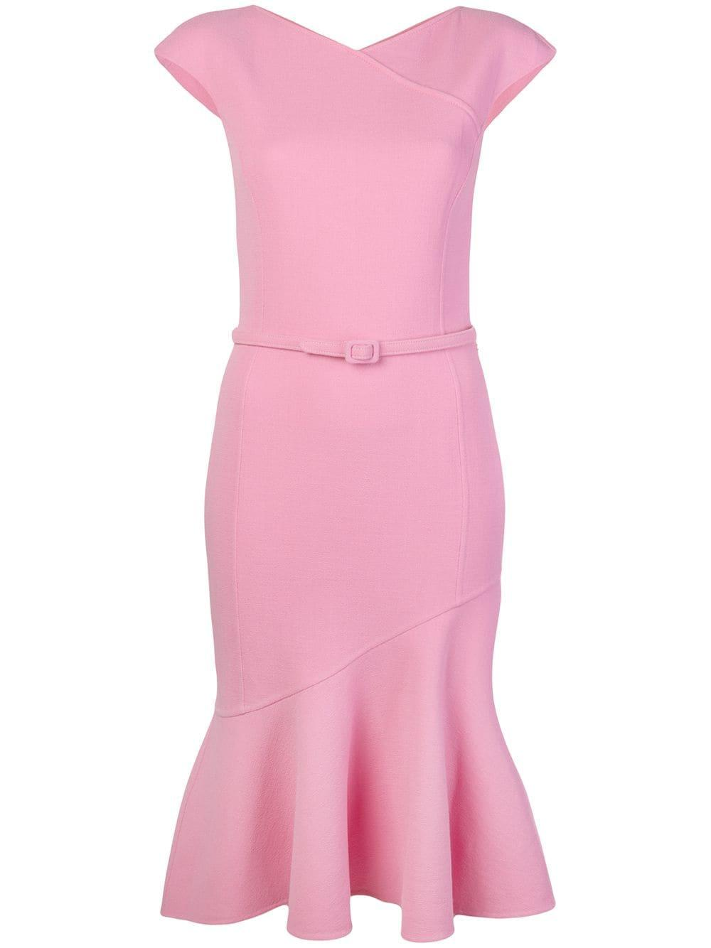 Cap Sleeve Sheath Dress With Flounce Hem