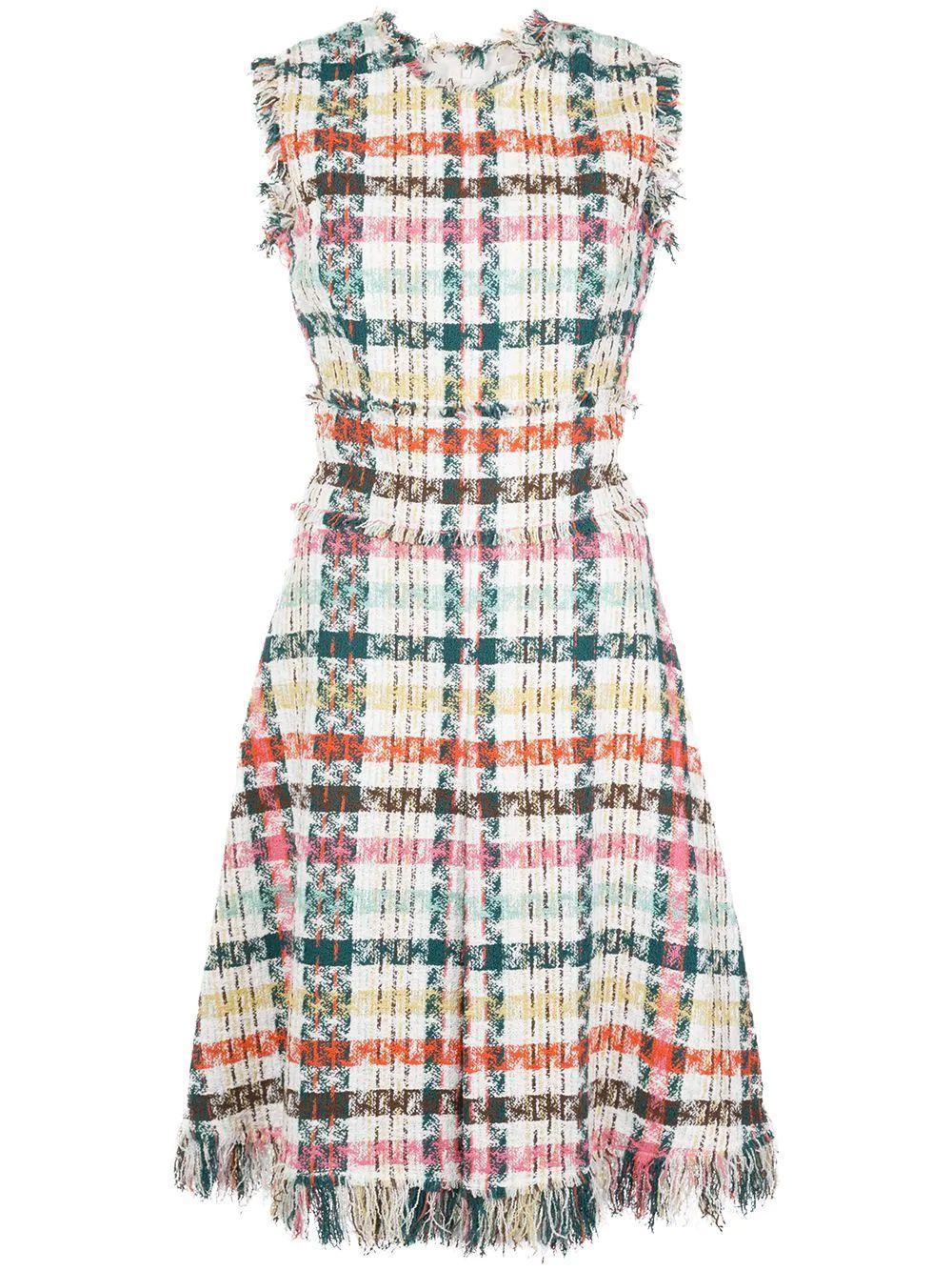 Sleeve Less Plaid Day Dress With Fringe Hem