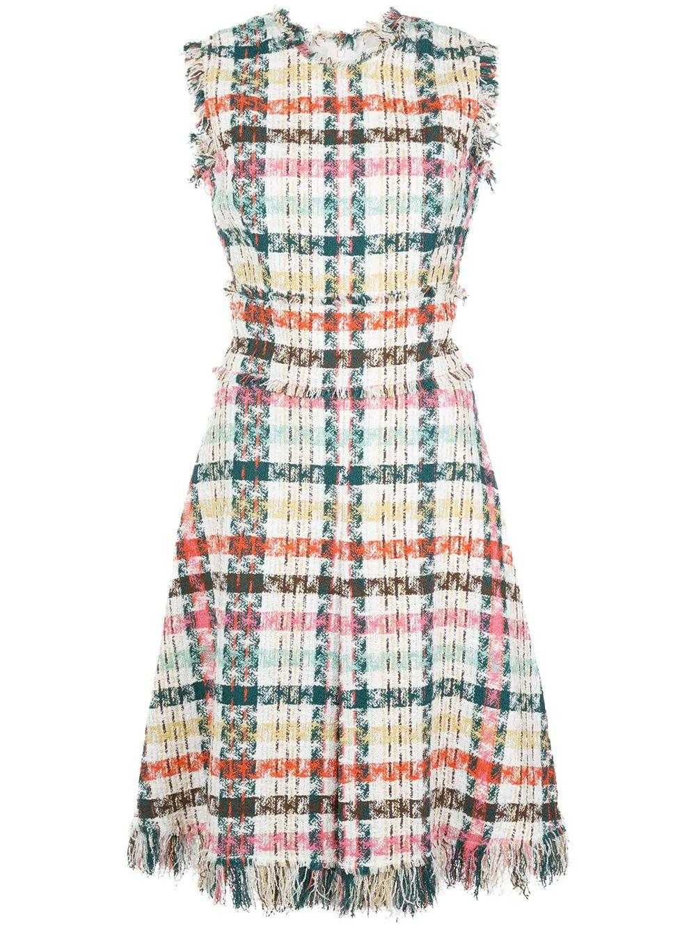 Sleeveless Plaid Day Dress With Fringe Hem