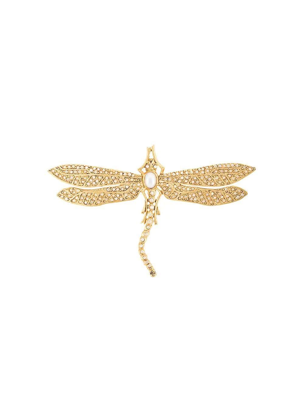 Pave Pearl Dragonfly Brooch
