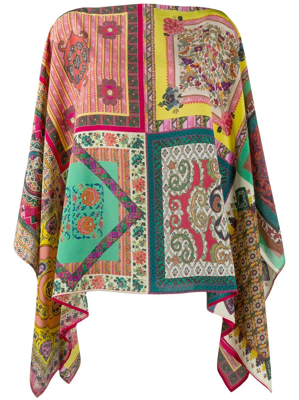 Patched Print Poncho