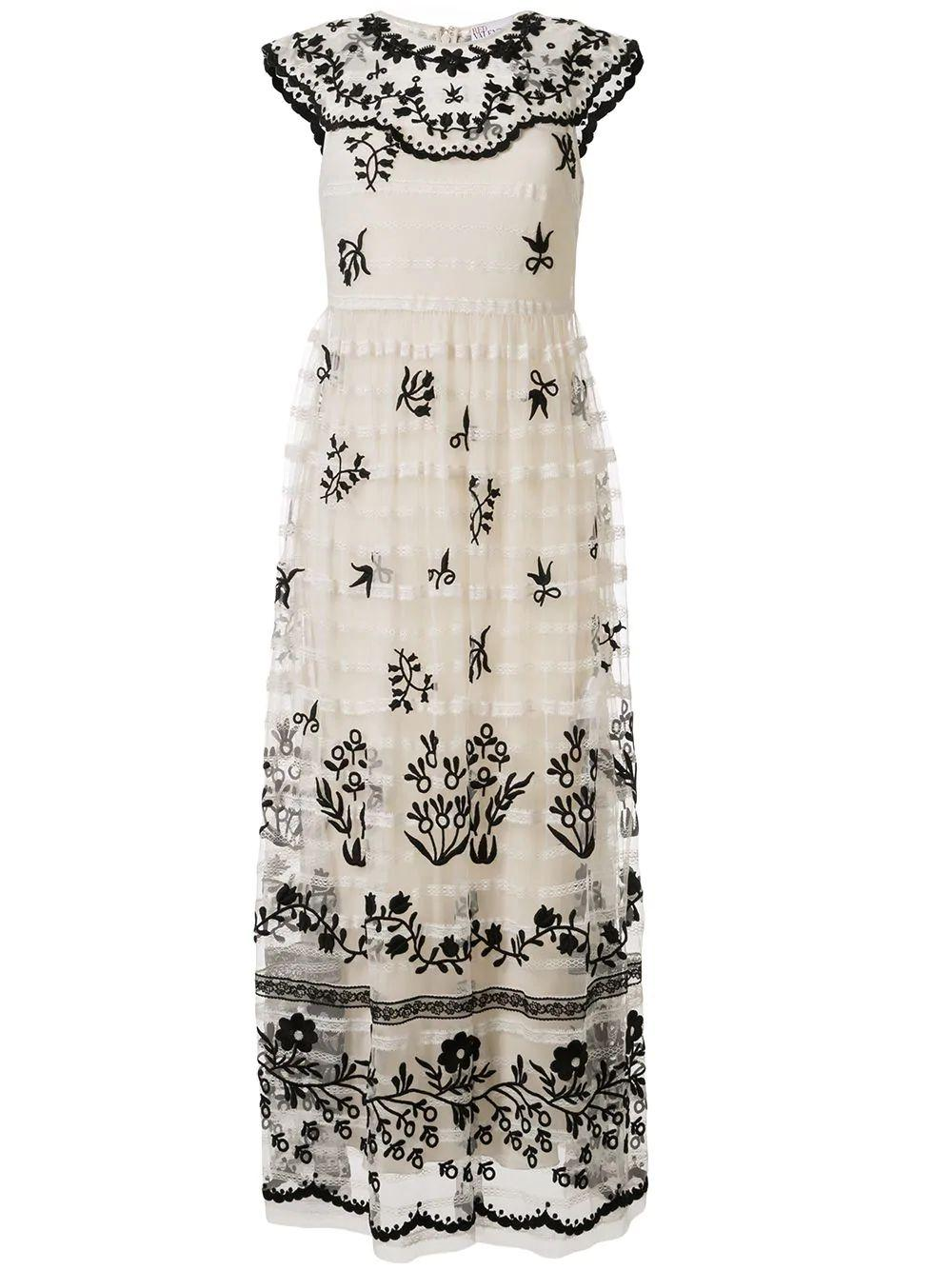 Sleeveless Tulle Dress With Black Embroidery