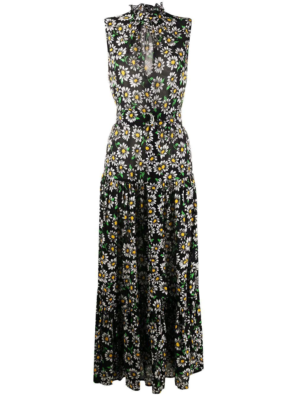 Sleeveless Daisy Print Maxi Dress