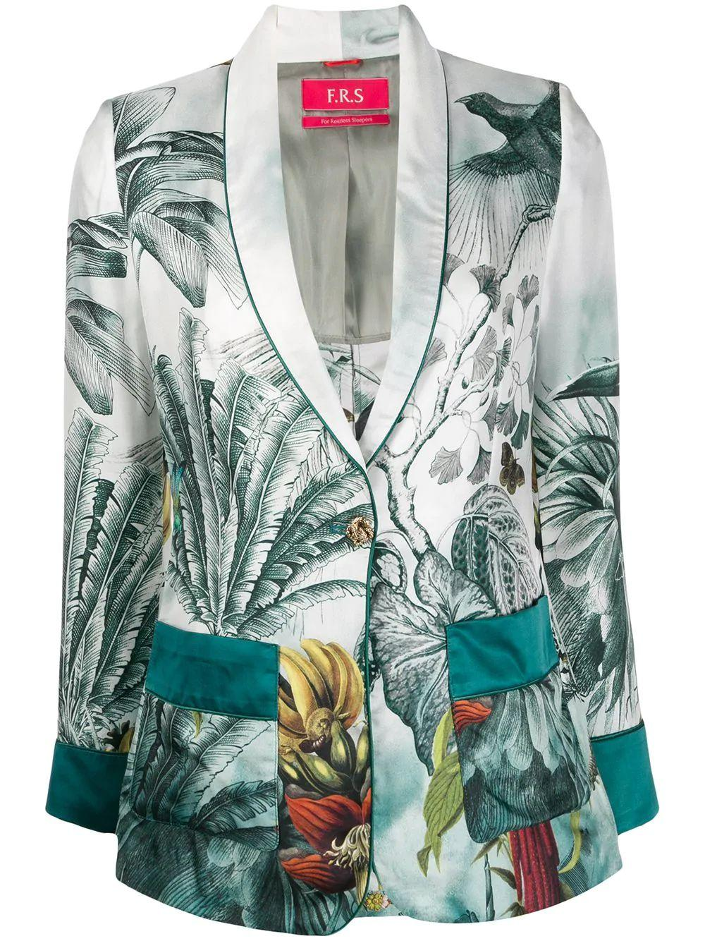 Paradise Printed Waisted Smoking Jacket