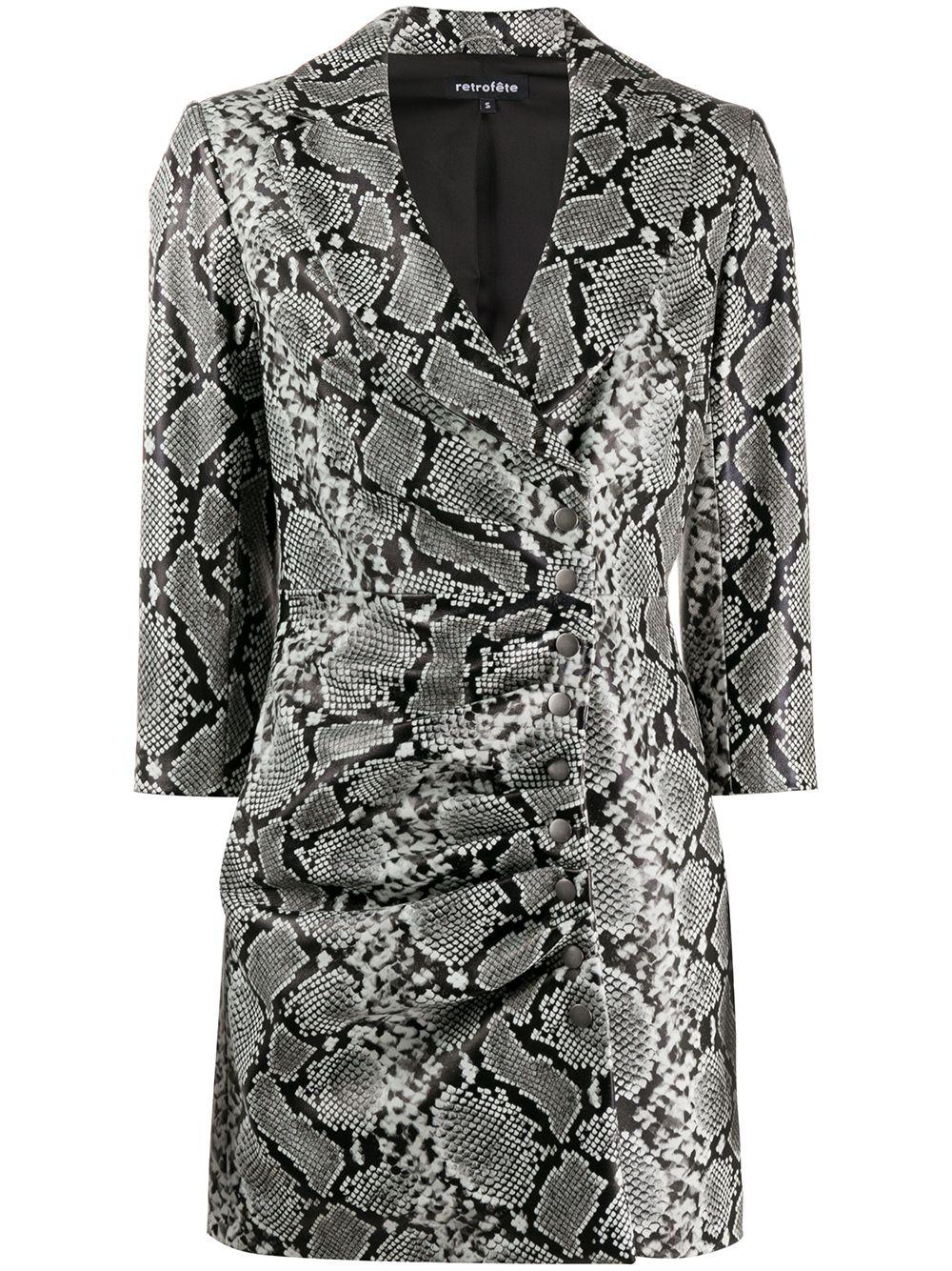 Willa 3/4 Sleeve Snakeskin Dress