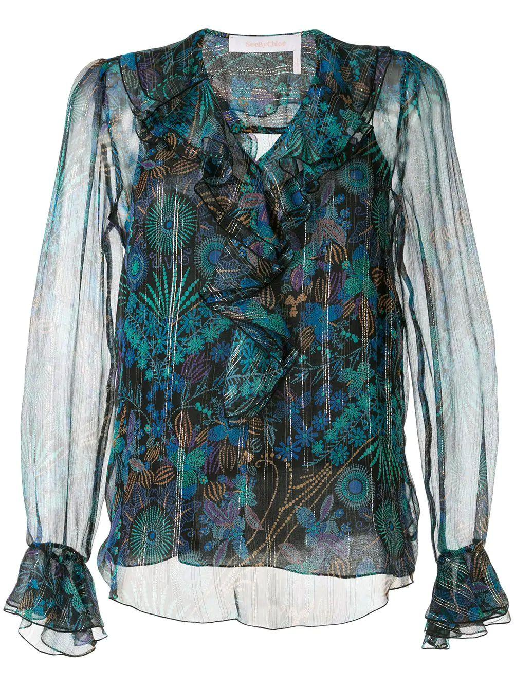 Floral Fireworks On Silk Georgette Blouse