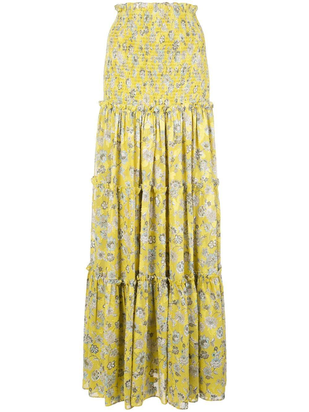 Galarza Flower Print Ruffle Trim Maxi Skirt